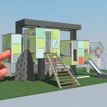 Детский игровой комплекс в стиле «кубизм»