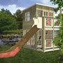 Детский двухэтажный коттедж с наблюдательным пунктом и горкой